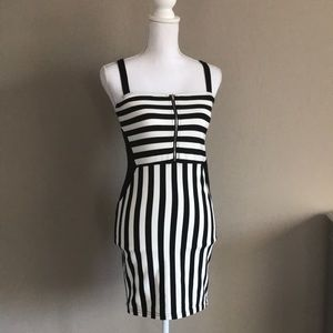 Divided striped body con dress size S
